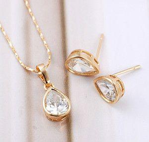Tear Drop 9K GF Womens Jewelry Sets Chain Earrings Pendant