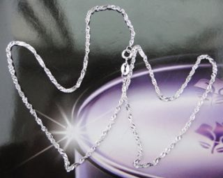 pure solid 925 silver chain water wave necklace 2mm sjn2