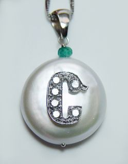 High Quality Diamond Initial C Pearl Emerald 14k White Gold Pendant
