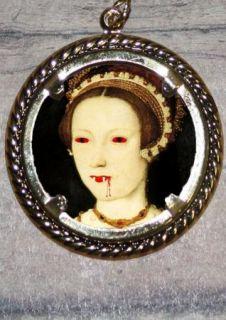 Tudor Queen Vampire Catherine Parr Altered Art Ornament Frame Pendant