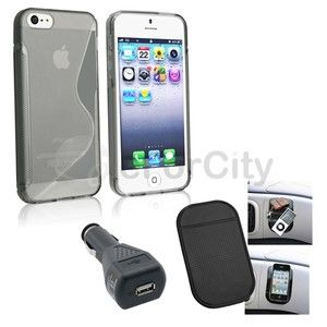 Clear Smoke s Shape Case Car DC Charger Mat for New iPhone 5