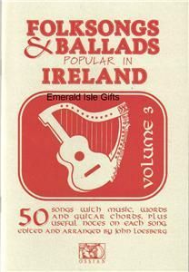 Irish Folk Songs Ballads Volume 3 Music Words Guitar Chords