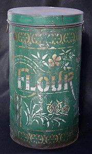 Early Large Tin Flour Container With Lid, Beautiful Stencil Designs