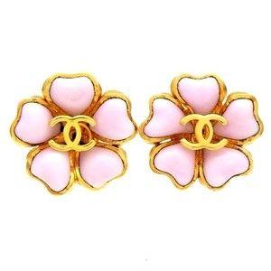 Authentic Vintage Chanel Earrings Gripoix Glass Pink Flower CC Logo