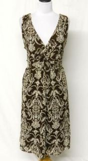 Cato Size 22 24W Brown Twist Ivory Lace Stretch Knit Dress Pretty