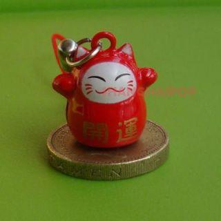 Red Black White Lucky Cat Bell Cell Phone Charm Bead Maneki Neko Ring