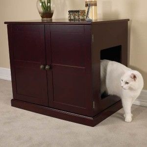 Pet Studio Cat Litter Box Cabinet Mahogany 28WX19DX24H