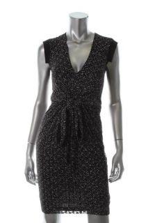Vena CAVA New Black Pattern Textured Tie Front Cap Sleeve Wear to Work