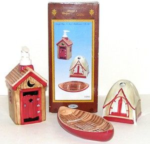 3pc Ceramic Bath Set Tent Canoe Outhouse Soap Dish Pump TB