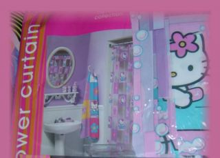 HELLO KITTY Cat HEART Bath Vinyl PVC SHOWER CURTAIN Brand New