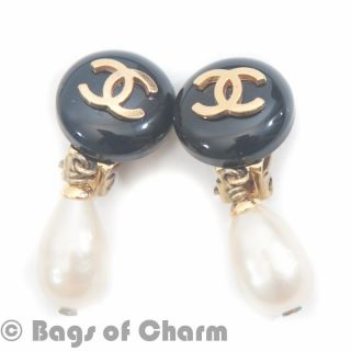 Vintage Chanel Gold Letter Double CC Logo CLIP ON Earrings CCE3