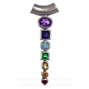 Silver Seven Chakra Gemstone Pendant Yoga Jewelry Hindu Tantric