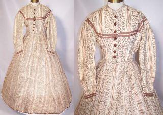 Civil War 1860s Brown & White Wool Challis Print Hoop Skirt Dress Gown