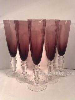 Purple Flue Glasses Champagne Wine Glasses in 6S 190ml