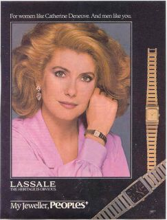 Catherine Deneuve Lassale Watch Ad Beautiful Model