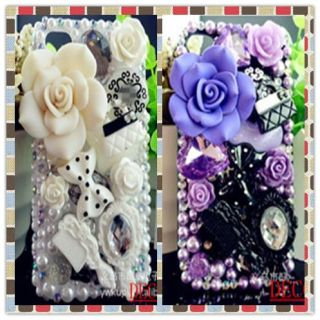 Bling White and Purple Bow Knot DIY Cell Phone iPhone4 Case Deco Den