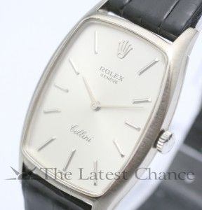 Mens Vintage Rolex Cellini 18K White Gold Wristwatch Excellent