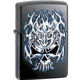 Flaming Chrome Skull Licorice Matte Zippo Lighter