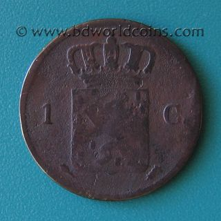 Netherlands Holland 1827 One 1 Cent 22mm Copper Collectable World Coin