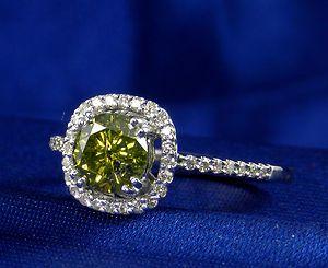 CT Total Weight Yellow Green Genuine Diamond Ring 95 CT Center Diamond