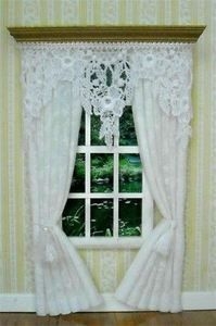 Dollhouse Miniature White Lace Curtains Drapes 5009