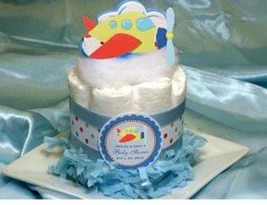 PLANE AIRPLANE baby shower diaper cake centerpieces ~ airplane favors