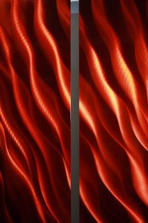 Red Jewel Toned Abstract Metal Wall Art Painting Sculpture Charisma