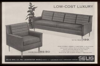 1957 Selig Mid Century Modern Furniture Sofa Chair Photo Vintage Print