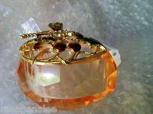 DRAGONFLY glass TRINKET jewelry BOX BY WELFORTH GEMS welLmade NICE