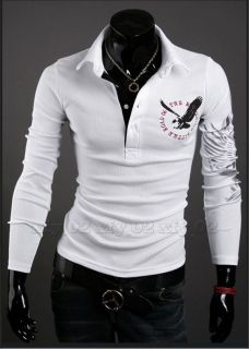Mens Eagle Tattoo Printing Long Sleeve Polo T Shirt Size XXL White