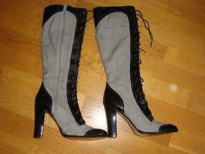 Charles by Charles David Black Patent Glen Plaid Boots Sz 7
