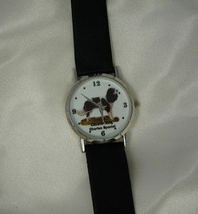 Cavalier King Charles Dog Watch Black Leather Band Silver Tone Casing