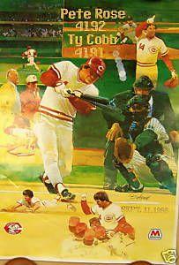 Pete Rose Charlie Hustle Ty Cobb Cincinnati Reds Poster