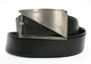 Cesare PACIOTTI Mens Black Leather Silver Hardware Belt