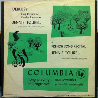 JENNIE TOUREL french song recital LP Mint  ML 4158 ANDY WARHOL COVER