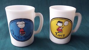 1969 Avon Charlie Brown and Lucy white milk glass 3 1/4 tall mugs