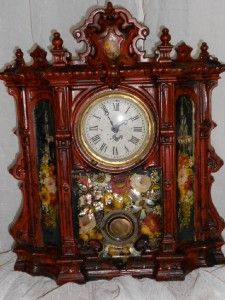 antique Iron Mantel Shelf Clock Belived to Chauncey Jerome Circa 1800s