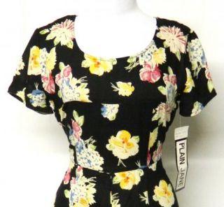 Jane Size 7 8 Juniors Black Rayon Challis Dress Floral Maxi