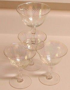 Vinage Iridescan Champagne Sherbe Glasses Se of 4