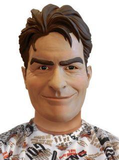 Charlie Sheen Adult Costume Overhead Mask Deluxe Mens Latex Full Face