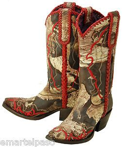 126 New LUCCHESE Charlie 1 Horse Chocolate Brush Cowboy Boots Womens 6