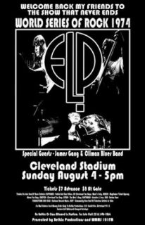 Emerson Lake and Palmer ELP James Gang 1974 Cleveland Concert Poster