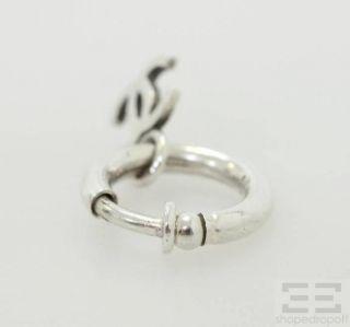 Chanel Silver Logo Small Hoop Earrings