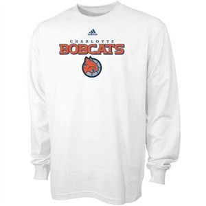 NBA Charlotte Bobcats Adidas Long Sleeve True Court Shirt White Tee