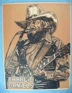 CHARLIE DANIELS 27 x 21 INCH ORIG. 1980 ARTIST DRAWING POSTER BY K