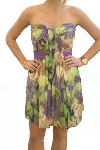 Charlie Jade Multi Color Pleated Contrast Belt Strapless Dress L 10 12