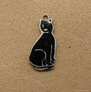 Silver Thomas L Mott TLM Black Enamel Cat Kitten Bracelet Charm