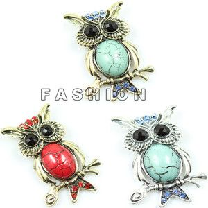 Wholesale Jewelry Silver Gold Plated Turquoise Owl Crystal Charm
