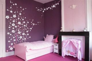 Large Wall Tree Nursery Decal Japanese Magnolia Cherry Blossom Flowers