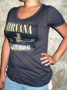 Chaser La Nirvana Reading Gray Womens T Shirt Tee